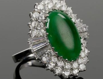 Ladies 14k White Gold Diamond & Jade Ring