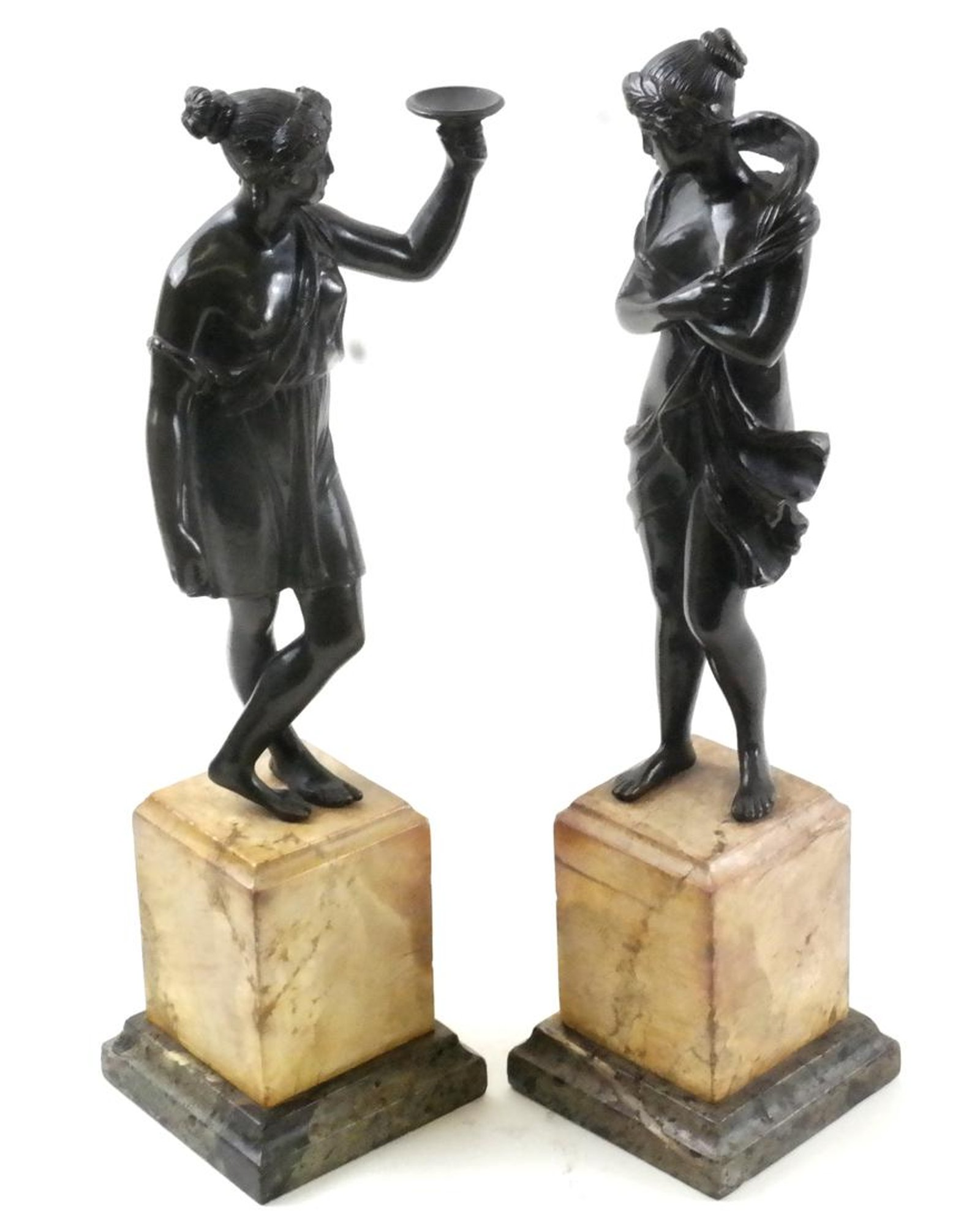 "Pair of Antique Classical Bronze Sculptures on Italian Marble Bases ""Grand Tour"""