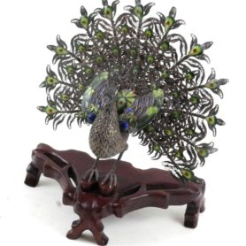 Chinese Silver And Enamel Peacock