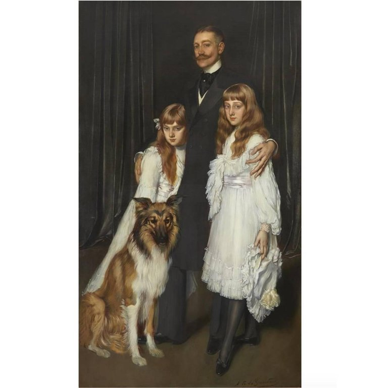"Antonio De La Gandara (French 1862-1917) ""Family Portrait"" Canvas Oil Painting"