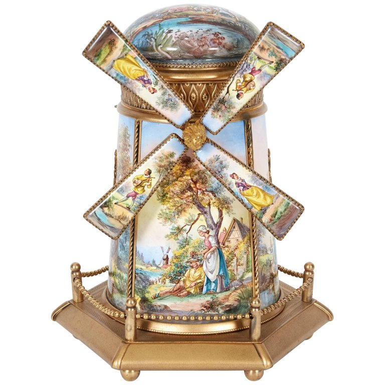Large Antique Viennese Austrian Enamel and Bronze Windmill Musical Jewelry Box