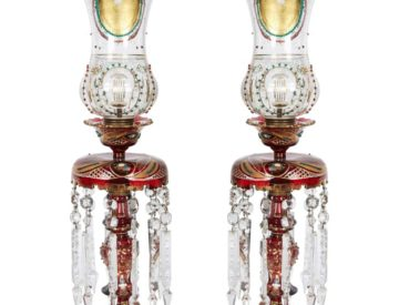 Pair of Persian Qajar Ruby Red Jeweled Bohemian Glass Lusters, 19th Century