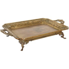 Large French Japonisme Bronze Two Handle Tray, 19th Century, Badham Pile Co