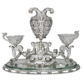 Paulding Farnham for Tiffany & Co Silver & Glass Renaissance Revival Centerpiece