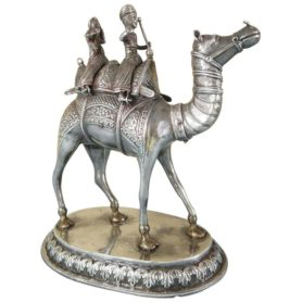 Magnificent Antique Colonial Indian Silver Camel with Riders, circa 1880