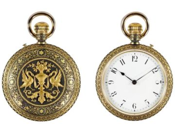 Rare Placido Zuloaga Spanish Damascened Gold and Steel Pocket Watch