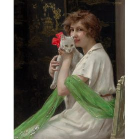 """Guillaume Seignac Oil on Canvas """"Good Friends"""" Beauty with Kitten Painting"""