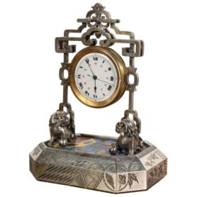French Silver, Gilt and Enamel Chinoiserie Desk Clock Attributed to Boucheron