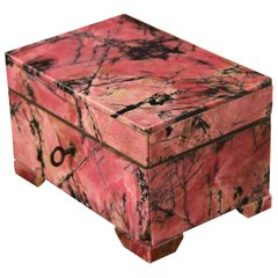 Russian Pink Rhodonite Hard-Stone Table Box, circa 1950