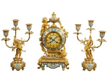 French Gilt-Bronze and Champleve Enamel Clock Set, Retailed by Tiffany & Co.