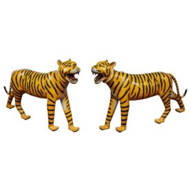 Massive Life-Size Pair of Chinese Asian Cloisonne Enamel Tigers