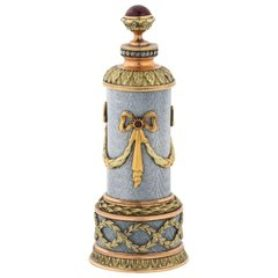 Russian 14K Vari Gold, Silver, Diamond, Guilloche Enamel, & Ruby Perfume Bottle
