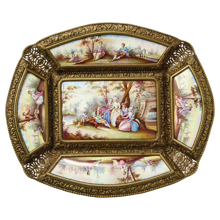A Large Austrian Hand-Painted Viennese Enamel-Mounted Gilt-Metal Tray