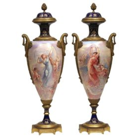 Beautiful Pair of French Bronze-Mounted Sevres Porcelain Vases and Covers