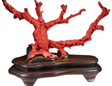 Exceptional Chinese Carved Coral Tree Branch with Monkeys and Squirrels, Qing