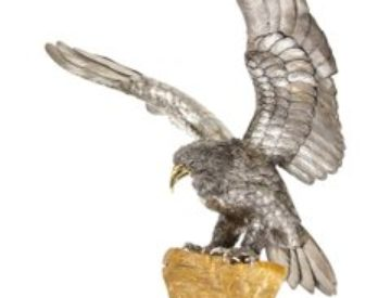 Mario Buccellati, A Rare and Exceptional Italian Silver Eagle on Rock
