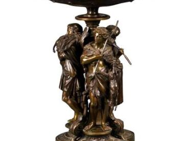 19th C. French Patinated Bronze Tazza Centerpiece Emile Boyer Christofle Style