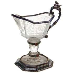 Fine Silver, Enamel, and Engraved Rock Crystal Jug, circa 1880