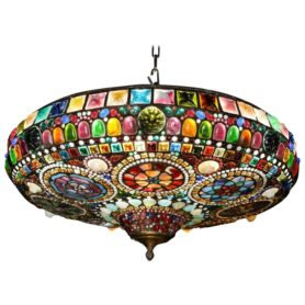 Magnificent Stained Tiffany Leaded Glass Ceiling Chandelier Mount, circa 1960